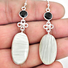 17.35cts natural scolecite high vibration crystal 925 silver earrings p78680