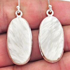 19.23cts natural scolecite high vibration crystal 925 silver earrings p88696