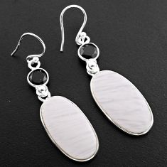 17.46cts natural scolecite high vibration crystal 925 silver earrings p88821