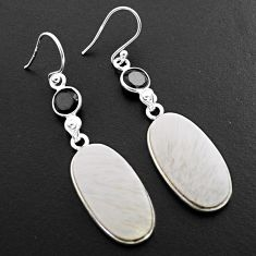 19.40cts natural scolecite high vibration crystal 925 silver earrings p88823