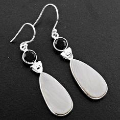 15.28cts natural scolecite high vibration crystal 925 silver earrings p88830