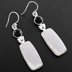 15.86cts natural scolecite high vibration crystal 925 silver earrings p88831