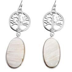 Natural scolecite high vibration crystal 925 silver tree of life earrings p91883