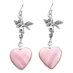 Natural scolecite high vibration crystal silver angel wings earrings p72561