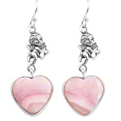 Natural scolecite high vibration crystal silver cupid angel earrings p72563