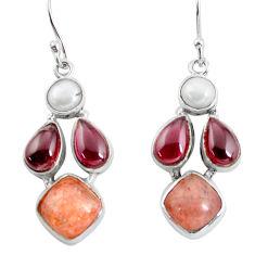 15.47cts natural sunstone (hematite feldspar) 925 silver dangle earrings p57436
