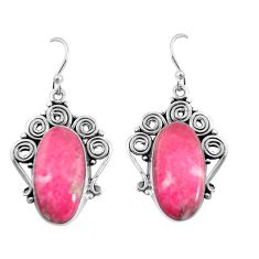 20.86cts natural thulite (unionite, pink zoisite) 925 silver earrings p91942