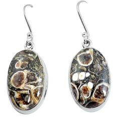 22.98cts natural turritella fossil snail agate 925 silver dangle earrings d31542