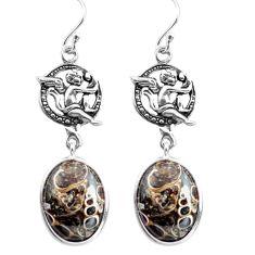 Natural turritella fossil snail agate silver cupid angel wings earrings p72574