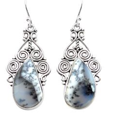 16.46cts natural white dendrite opal (merlinite) 925 silver earrings p72657