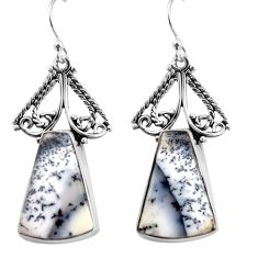 19.27cts natural white dendrite opal (merlinite) 925 silver earrings p91953