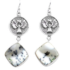 19.72cts natural white dendrite opal (merlinite) silver dangle earrings p72567