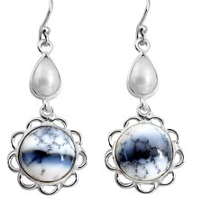 14.73cts natural white dendrite opal (merlinite) silver dangle earrings p89290