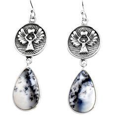 19.23cts natural white dendrite opal (merlinite) silver dangle earrings p91896