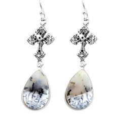 15.72cts natural white dendrite opal 925 silver holy cross earrings p72580