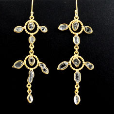 14.23cts natural white herkimer diamond 925 silver 14k gold earrings p88525