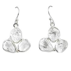 18.15cts natural white herkimer diamond 925 silver dangle earrings p68836