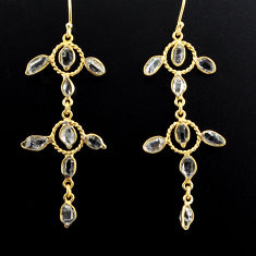 13.15cts natural white herkimer diamond 925 silver gold dangle earrings p88521