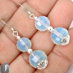 NATURAL WHITE OPALITE 925 STERLING SILVER BEADS DANGLE EARRINGS JEWELRY G42424