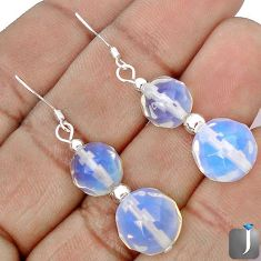 NATURAL WHITE OPALITE 925 STERLING SILVER BEADS DANGLE EARRINGS JEWELRY G42489