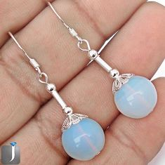 NATURAL WHITE OPALITE 925 STERLING SILVER DANGLE EARRINGS JEWELRY G42440