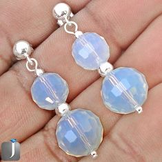 NATURAL WHITE OPALITE BEADS 925 STERLING SILVER DANGLE EARRINGS JEWELRY G34443
