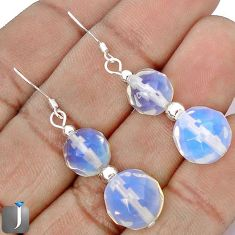 25.97cts NATURAL WHITE OPALITE ROUND 925 STERLING SILVER EARRINGS JEWELRY G42455