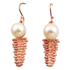 11.58cts natural white pearl 925 silver 14k rose gold dangle earrings c4687