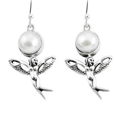 7.33cts natural white pearl 925 silver angel wings fairy earrings jewelry p54889