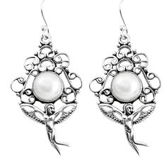 6.76cts natural white pearl 925 silver angel wings fairy earrings p51976
