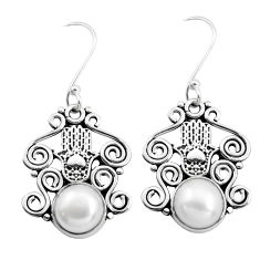 7.12cts natural white pearl 925 silver hand of god hamsa earrings jewelry p41443