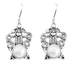 6.04cts natural white pearl 925 silver hand of god hamsa earrings p51974
