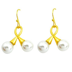 11.20cts natural white pearl 925 sterling silver 14k gold dangle earrings p43754