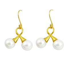 13.13cts natural white pearl 925 sterling silver 14k gold dangle earrings p60701
