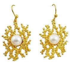 7.36cts natural white pearl 925 sterling silver 14k gold earrings jewelry c4703