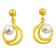 9.13cts natural white pearl 925 sterling silver 14k gold earrings jewelry c4713