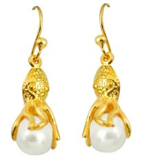8.22cts natural white pearl 925 sterling silver 14k gold earrings jewelry c5521