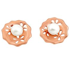 11.30cts natural white pearl 925 sterling silver 14k rose gold earrings c4674