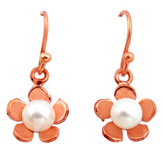 3.29cts natural white pearl 925 sterling silver 14k rose gold earrings c4708