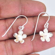 2.09cts natural white pearl 925 sterling silver dangle earrings jewelry c2869