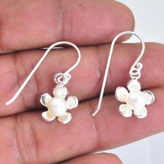 2.09cts natural white pearl 925 sterling silver dangle earrings jewelry c2870