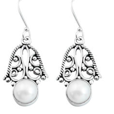 9.16cts natural white pearl 925 sterling silver dangle earrings jewelry d31563