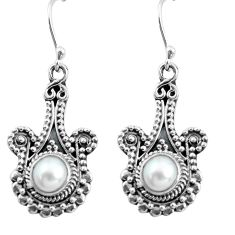 Clearance Sale- 1.85cts natural white pearl 925 sterling silver dangle earrings jewelry d31586