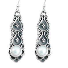 Clearance Sale- 1.51cts natural white pearl 925 sterling silver dangle earrings jewelry d31700