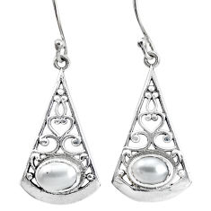3.52cts natural white pearl 925 sterling silver dangle earrings jewelry p34421
