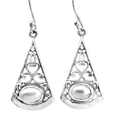 4.37cts natural white pearl 925 sterling silver dangle earrings jewelry p34466