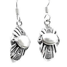 3.83cts natural white pearl 925 sterling silver dangle earrings jewelry p34486