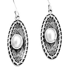 3.53cts natural white pearl 925 sterling silver dangle earrings jewelry p34496