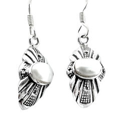 3.05cts natural white pearl 925 sterling silver dangle earrings jewelry p34497