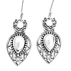 5.12cts natural white pearl 925 sterling silver dangle earrings jewelry p34499